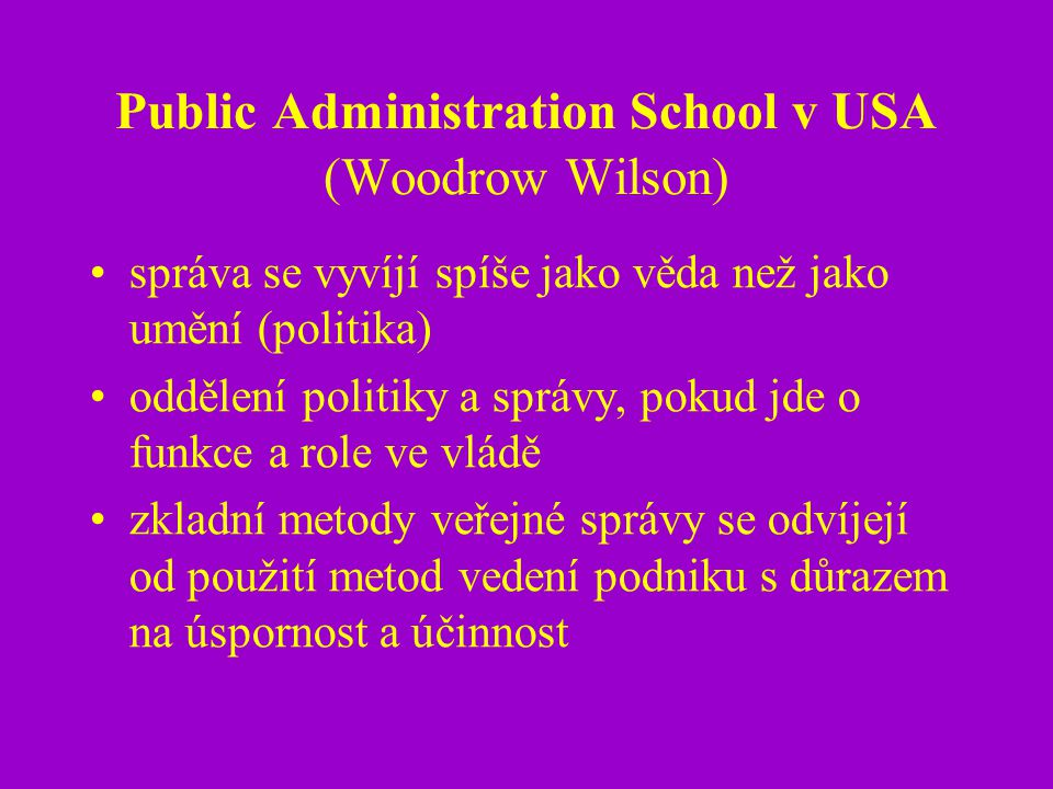 Public Administration School v USA (Woodrow Wilson)