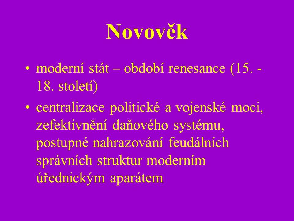 Novověk moderní stát – období renesance (15. - 18. století)