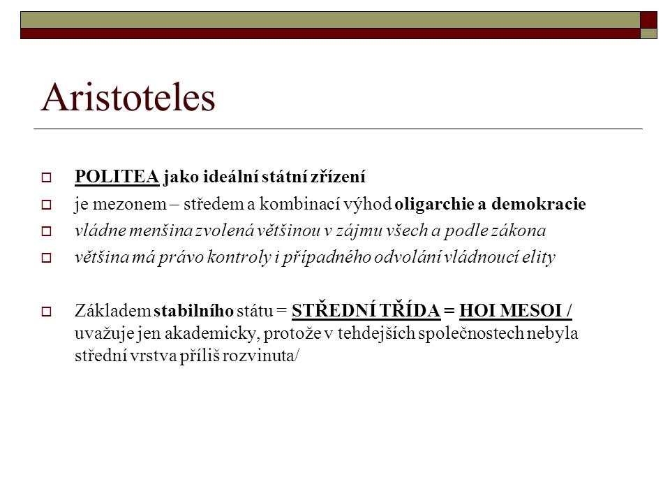 Aristoteles POLITEA jako ideální státní zřízení