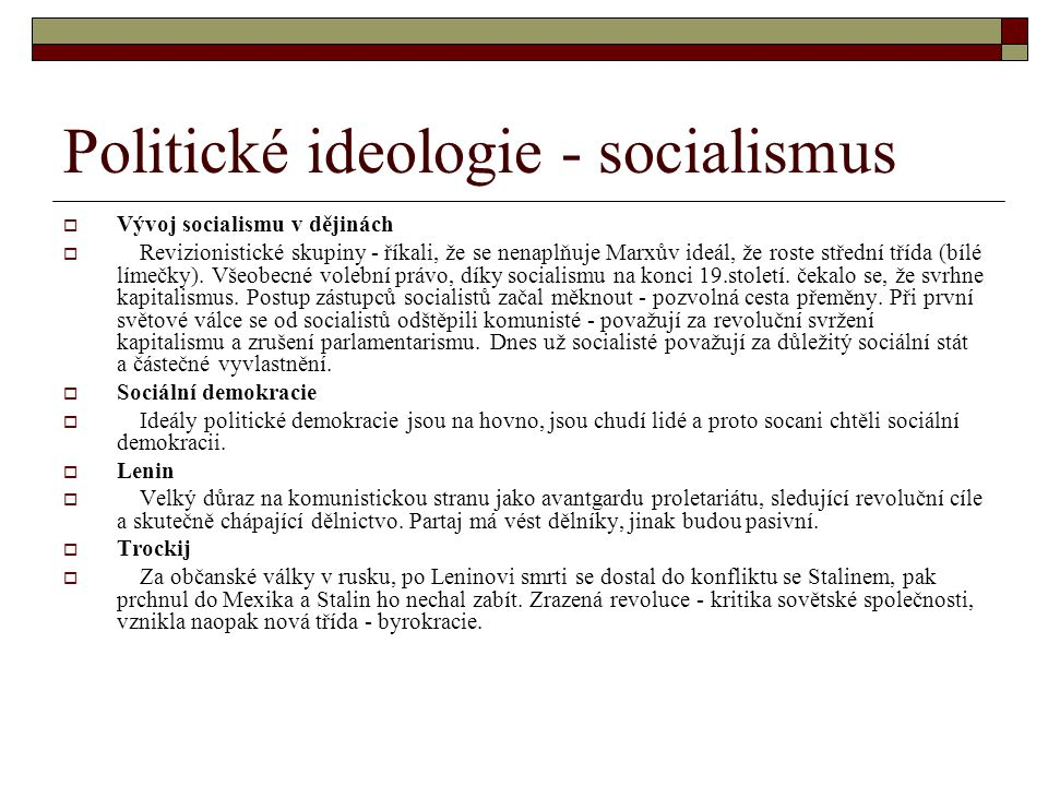 Politické ideologie - socialismus