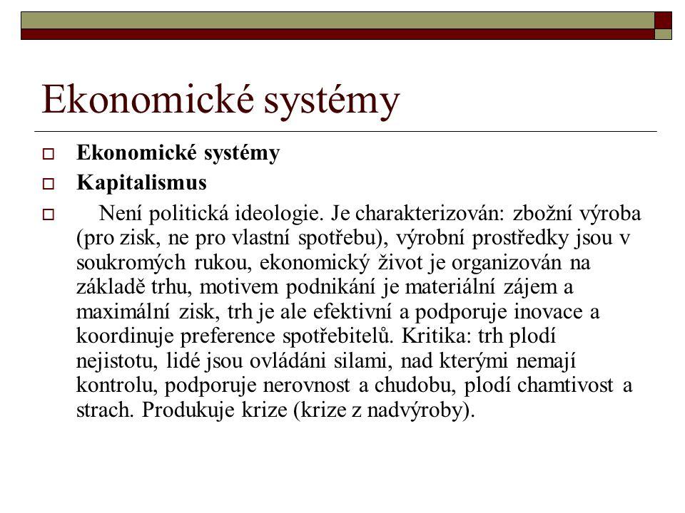 Ekonomické systémy Ekonomické systémy Kapitalismus