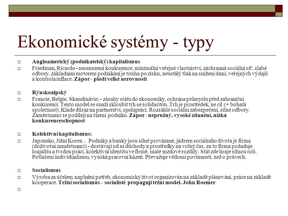 Ekonomické systémy - typy
