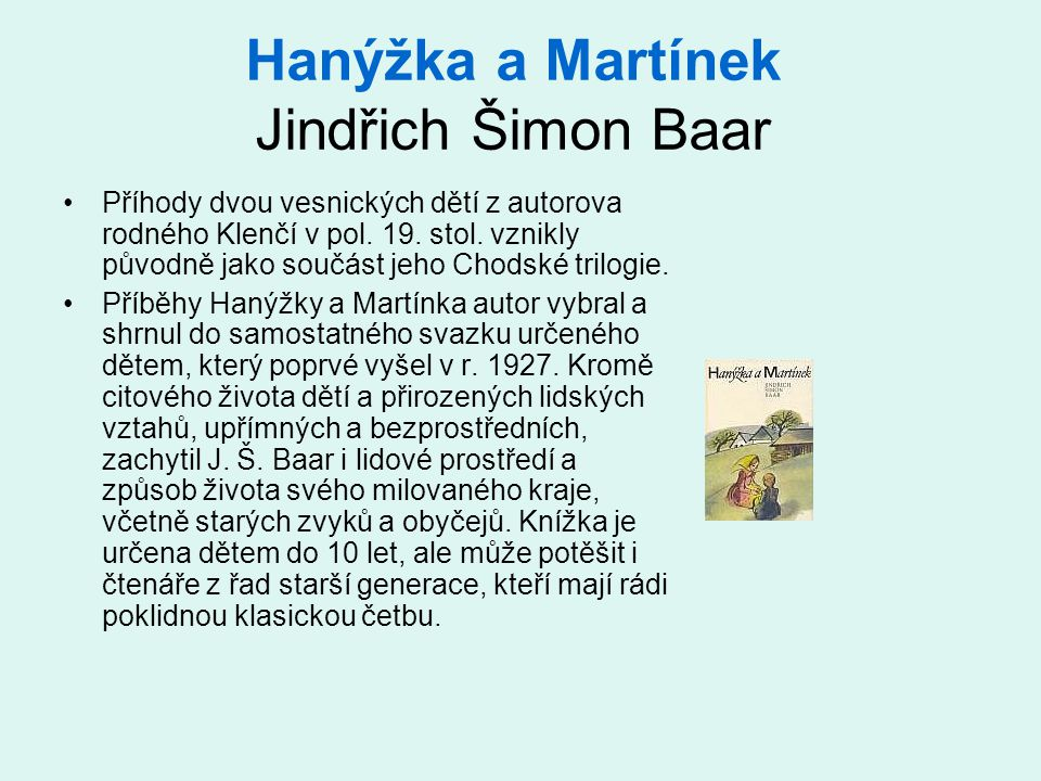 Hanýžka a Martínek Jindřich Šimon Baar