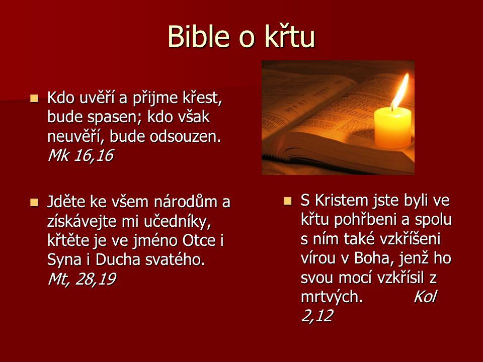 Bible o křtu Kdo uvěří a přijme křest, bude spasen; kdo však neuvěří, bude odsouzen. Mk 16,16.