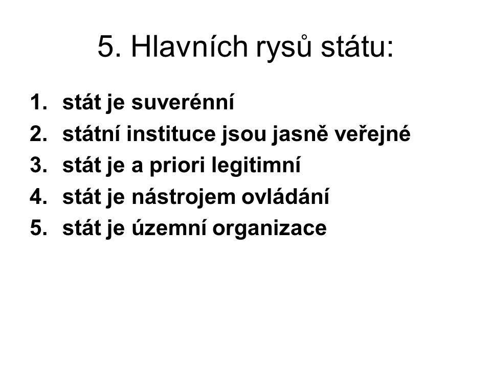 5. Hlavních rysů státu: stát je suverénní