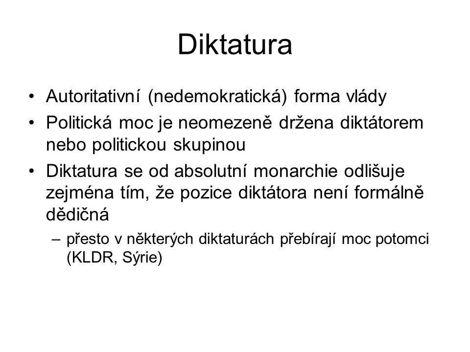 Diktatura Autoritativní (nedemokratická) forma vlády