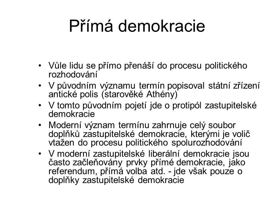 Přímá demokracie Vůle lidu se přímo přenáší do procesu politického rozhodování.