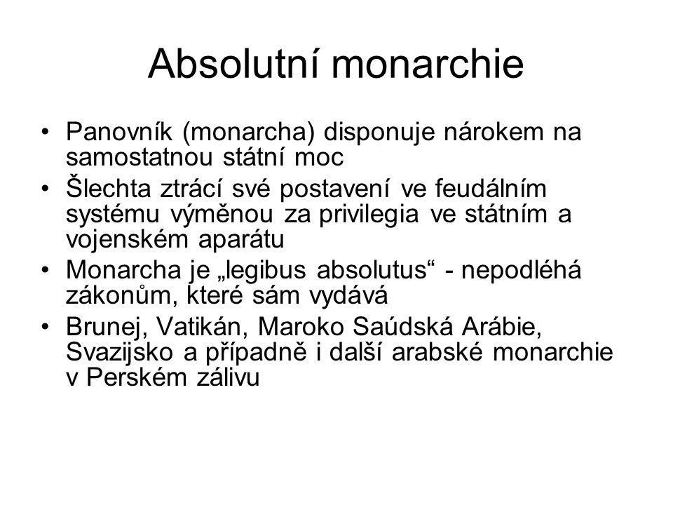 Absolutní monarchie Panovník (monarcha) disponuje nárokem na samostatnou státní moc.