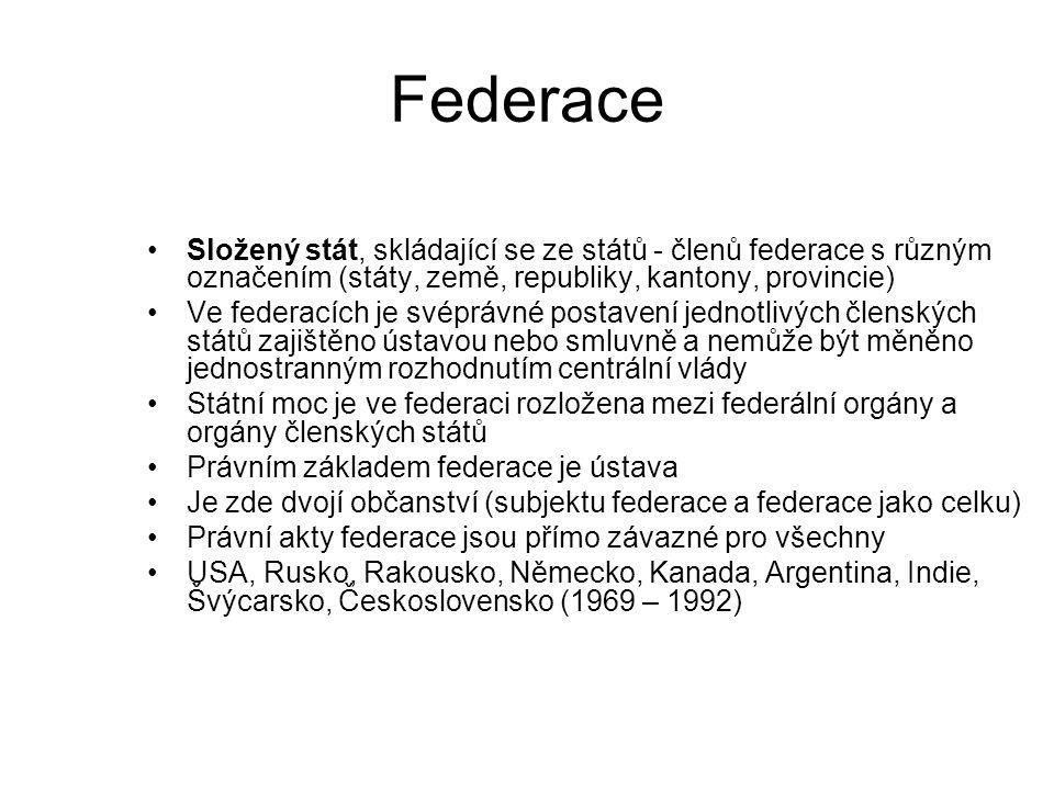 Federace Složený stát, skládající se ze států - členů federace s různým označením (státy, země, republiky, kantony, provincie)