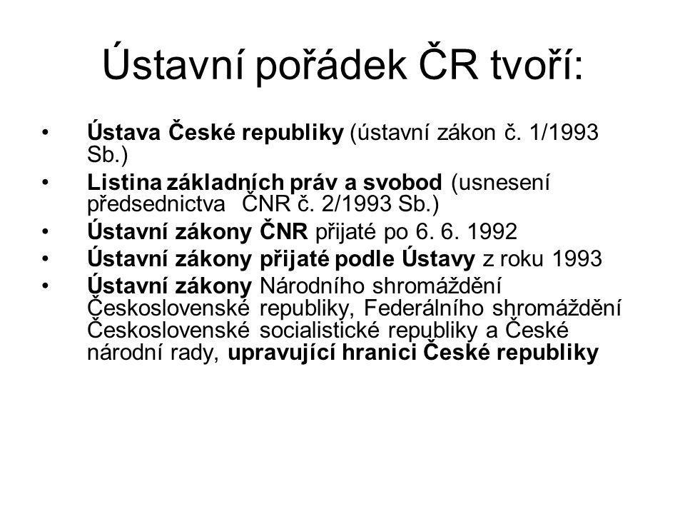 Ústavní pořádek ČR tvoří: