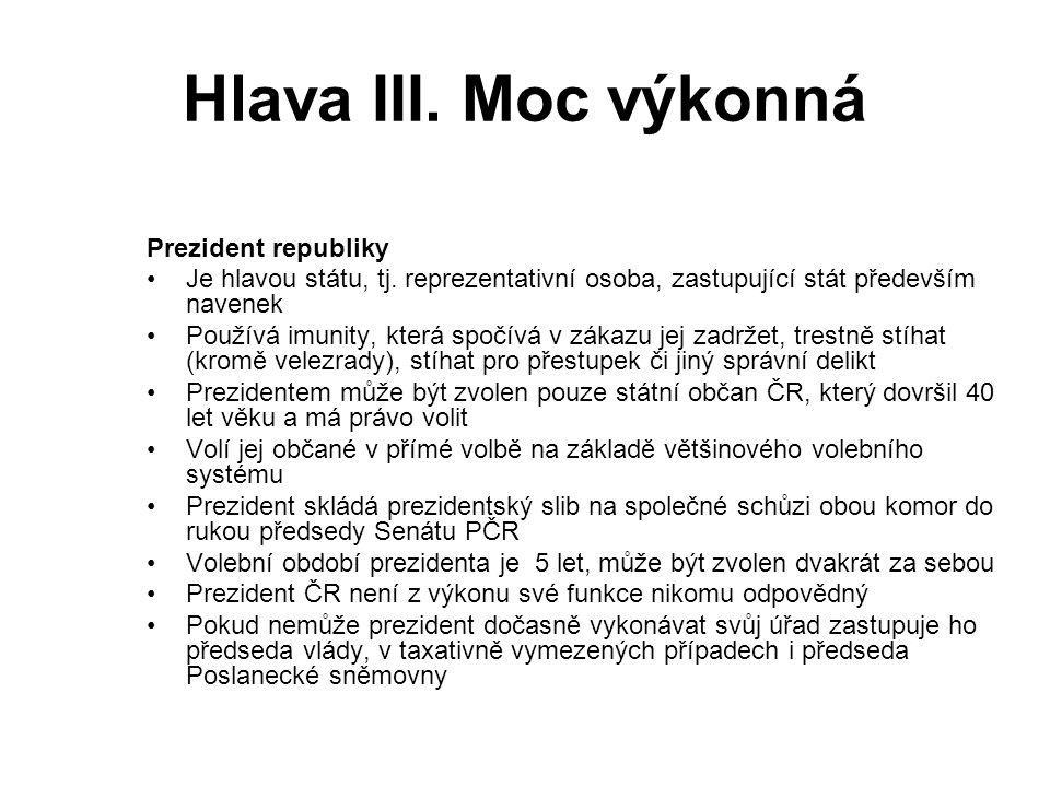 Hlava III. Moc výkonná Prezident republiky