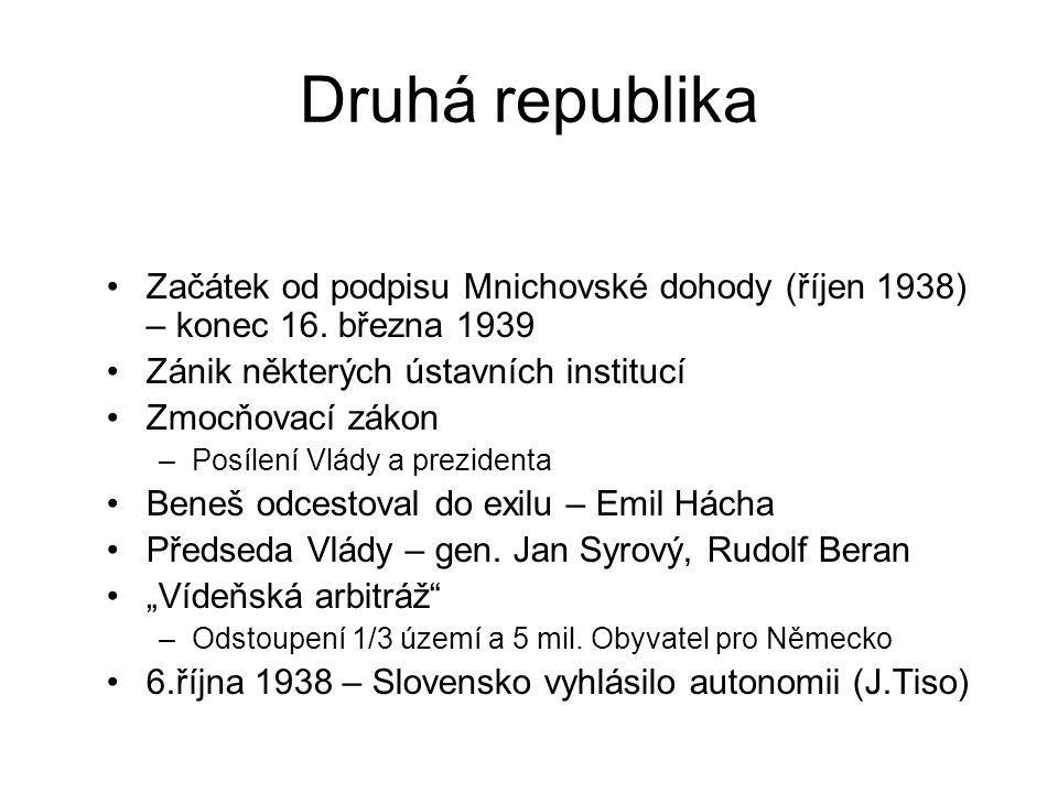 Druhá republika Začátek od podpisu Mnichovské dohody (říjen 1938) – konec 16. března 1939. Zánik některých ústavních institucí.