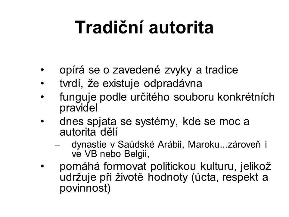 Tradiční autorita opírá se o zavedené zvyky a tradice