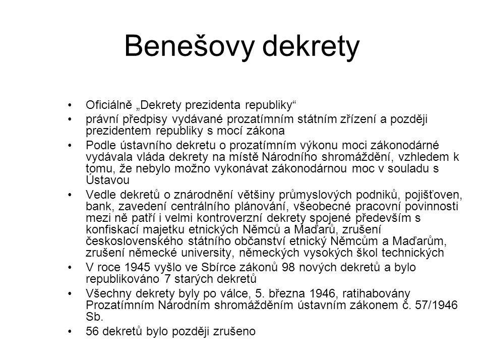 """Benešovy dekrety Oficiálně """"Dekrety prezidenta republiky"""