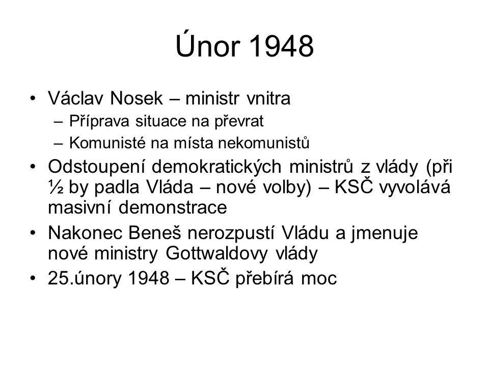Únor 1948 Václav Nosek – ministr vnitra