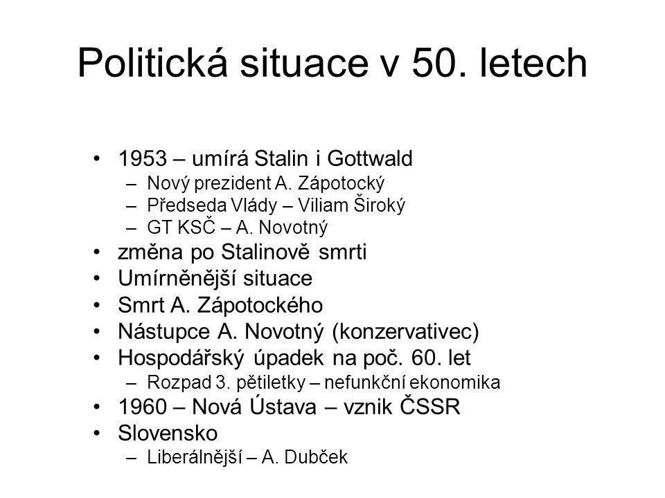 Politická situace v 50. letech