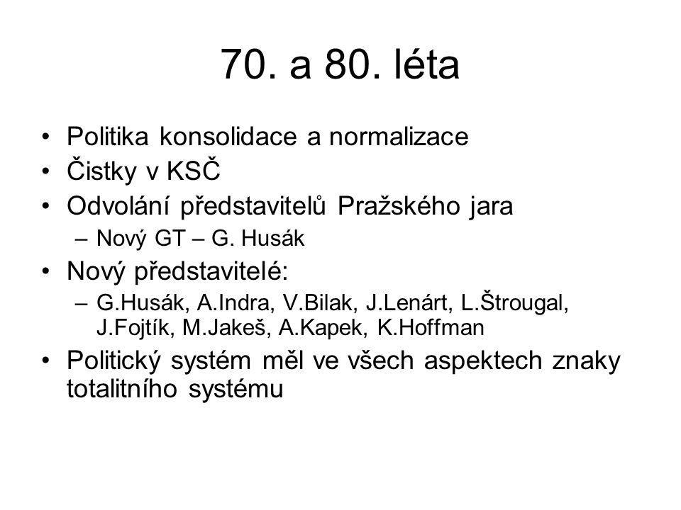 70. a 80. léta Politika konsolidace a normalizace Čistky v KSČ