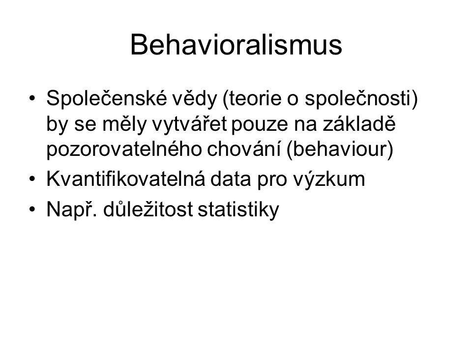Behavioralismus Společenské vědy (teorie o společnosti) by se měly vytvářet pouze na základě pozorovatelného chování (behaviour)