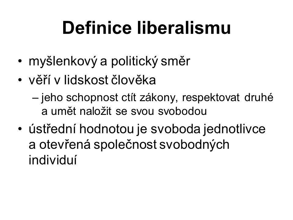 Definice liberalismu myšlenkový a politický směr