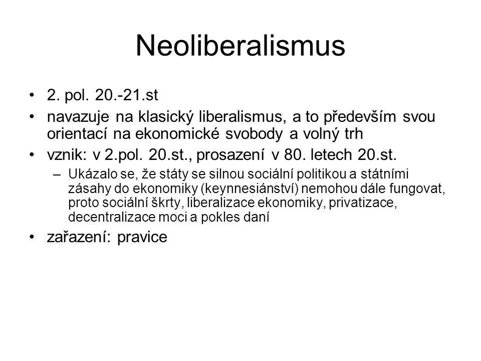 Neoliberalismus 2. pol. 20.-21.st