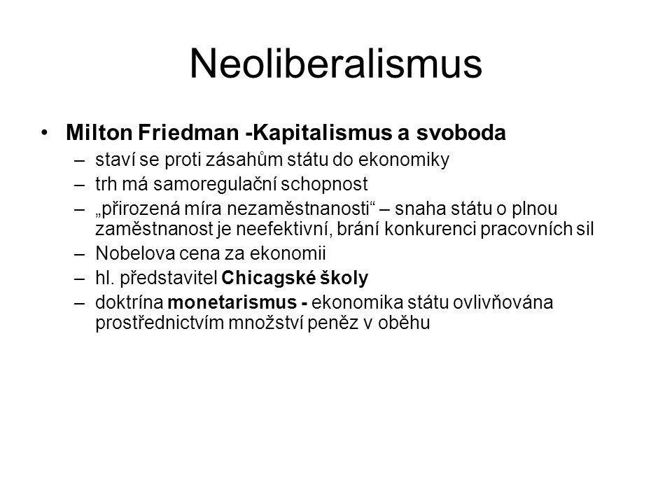Neoliberalismus Milton Friedman -Kapitalismus a svoboda
