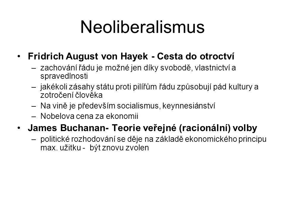 Neoliberalismus Fridrich August von Hayek - Cesta do otroctví