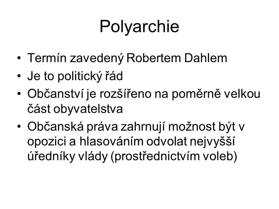 Polyarchie Termín zavedený Robertem Dahlem Je to politický řád