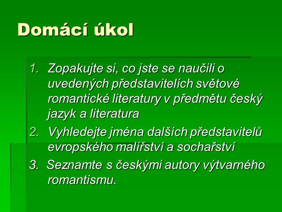 Domácí úkol Zopakujte si, co jste se naučili o uvedených představitelích světové romantické literatury v předmětu český jazyk a literatura.