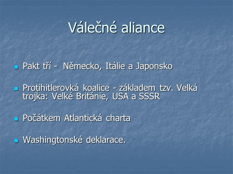 Válečné aliance Pakt tří - Německo, Itálie a Japonsko