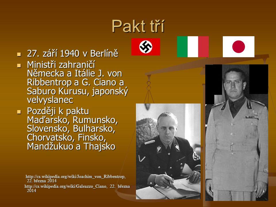 Pakt tří 27. září 1940 v Berlíně. Ministři zahraničí Německa a Itálie J. von Ribbentrop a G. Ciano a Saburo Kurusu, japonský velvyslanec.