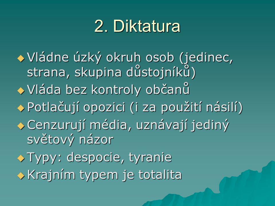 2. Diktatura Vládne úzký okruh osob (jedinec, strana, skupina důstojníků) Vláda bez kontroly občanů.