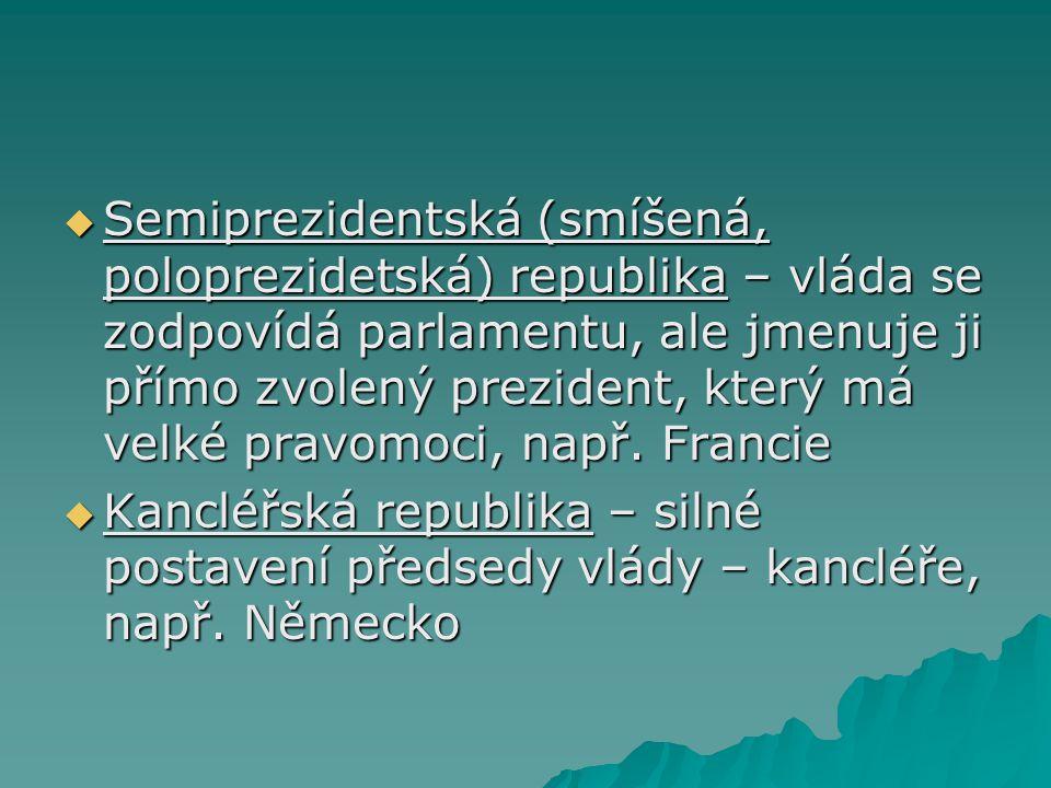 Semiprezidentská (smíšená, poloprezidetská) republika – vláda se zodpovídá parlamentu, ale jmenuje ji přímo zvolený prezident, který má velké pravomoci, např. Francie