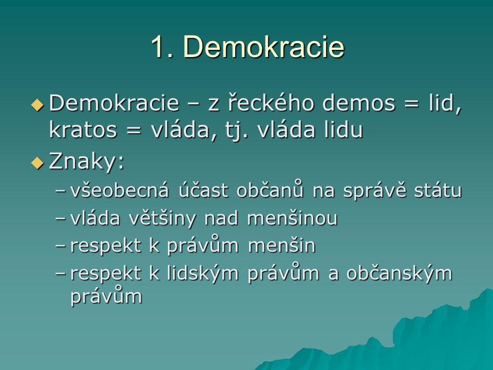 1. Demokracie Demokracie – z řeckého demos = lid, kratos = vláda, tj. vláda lidu. Znaky: všeobecná účast občanů na správě státu.