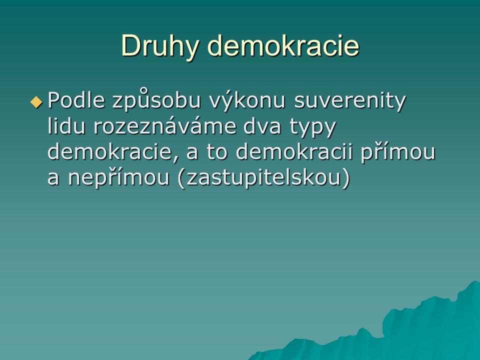 Druhy demokracie Podle způsobu výkonu suverenity lidu rozeznáváme dva typy demokracie, a to demokracii přímou a nepřímou (zastupitelskou)