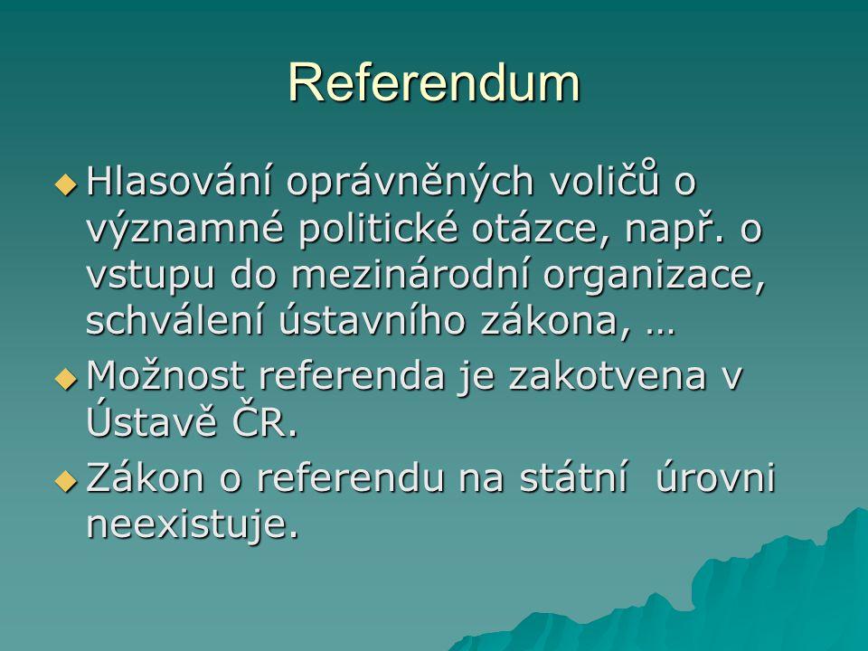 Referendum Hlasování oprávněných voličů o významné politické otázce, např. o vstupu do mezinárodní organizace, schválení ústavního zákona, …