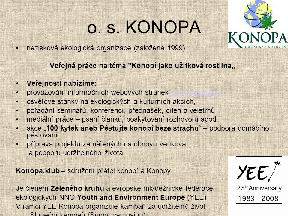 """Veřejná práce na téma Konopí jako užitková rostlina"""""""