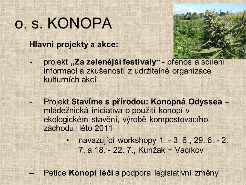 o. s. KONOPA Hlavní projekty a akce: