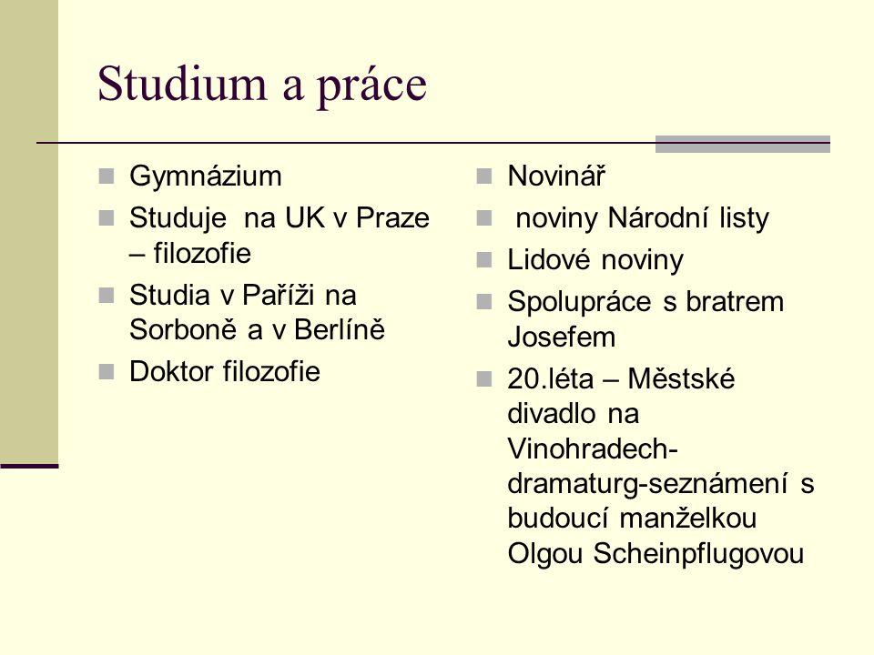 Studium a práce Gymnázium Studuje na UK v Praze – filozofie