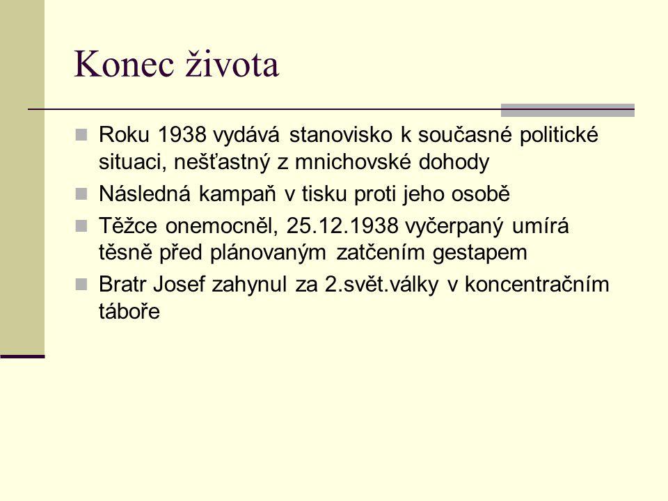 Konec života Roku 1938 vydává stanovisko k současné politické situaci, nešťastný z mnichovské dohody.