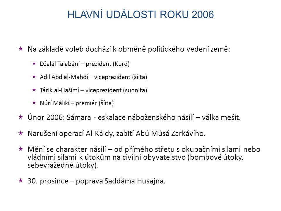 HLAVNÍ UDÁLOSTI ROKU 2006 Na základě voleb dochází k obměně politického vedení země: Džalál Talabání – prezident (Kurd)