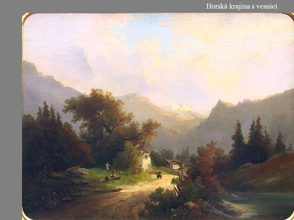 Horská krajina s vesnicí