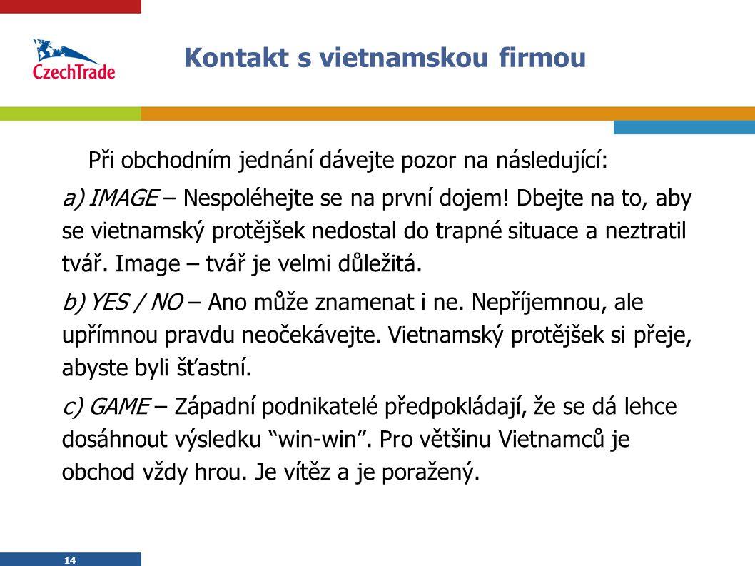 Kontakt s vietnamskou firmou