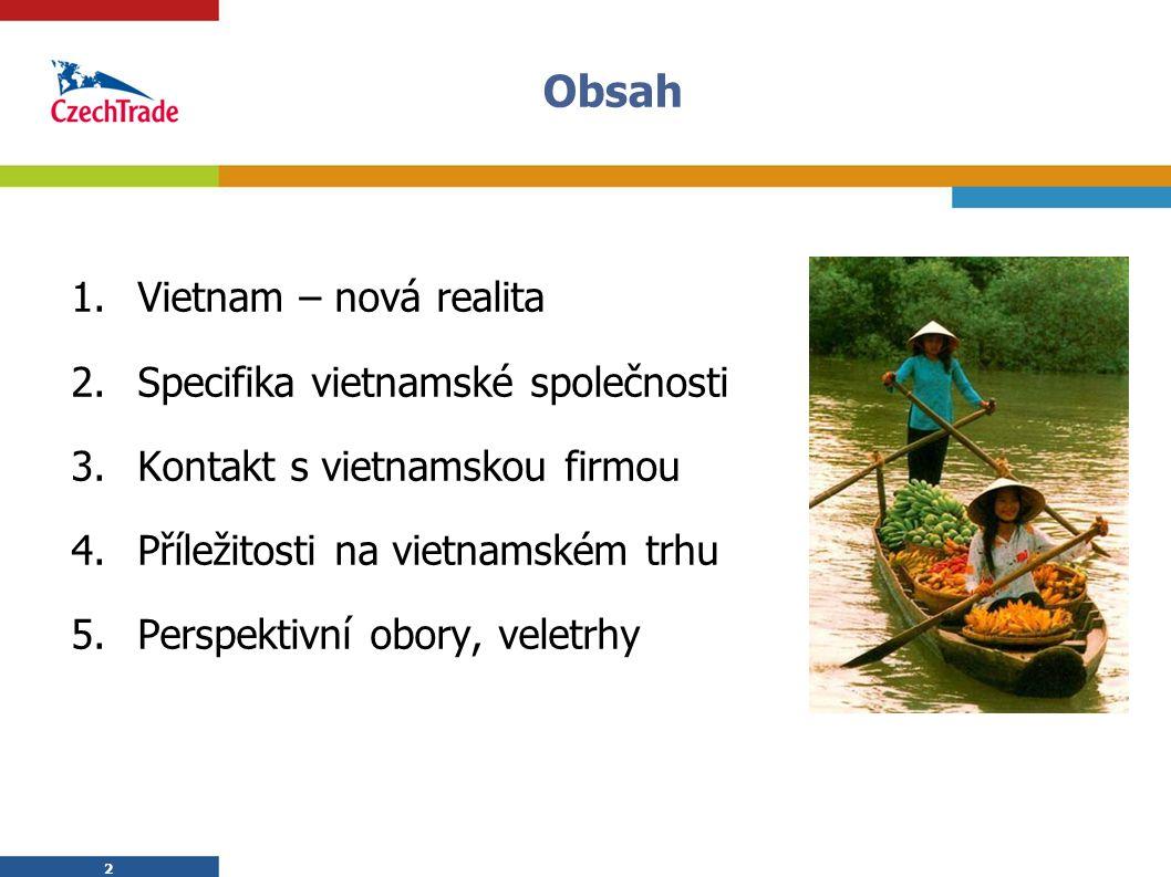 Obsah Vietnam – nová realita Specifika vietnamské společnosti