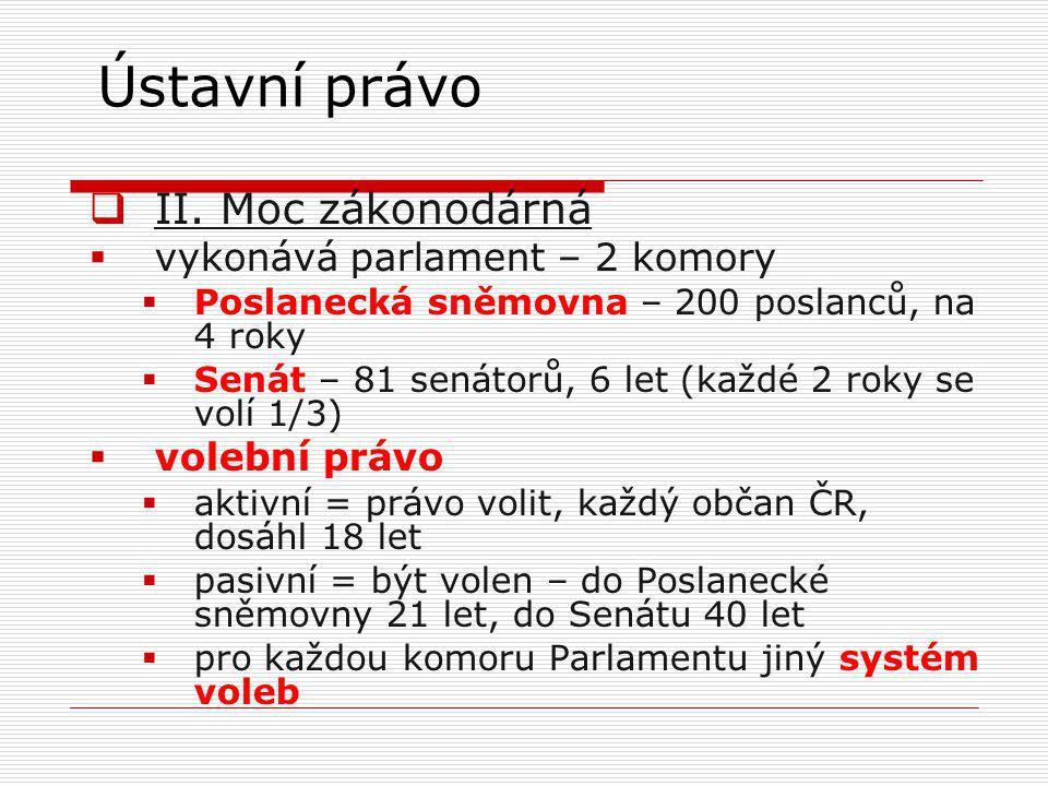 Ústavní právo II. Moc zákonodárná vykonává parlament – 2 komory