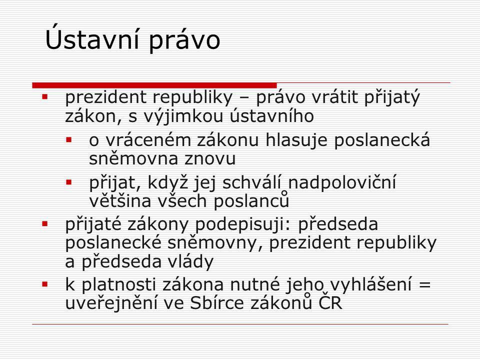 Ústavní právo prezident republiky – právo vrátit přijatý zákon, s výjimkou ústavního. o vráceném zákonu hlasuje poslanecká sněmovna znovu.