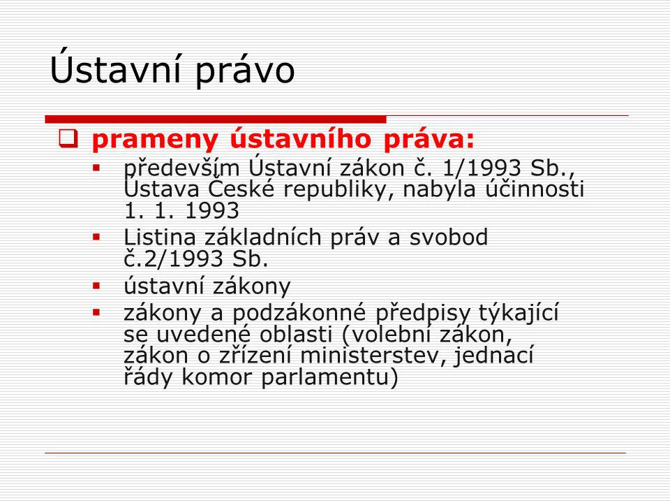 Ústavní právo prameny ústavního práva: