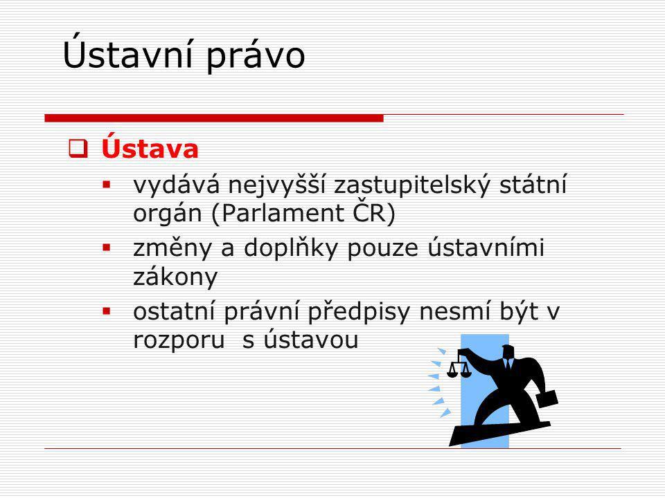 Ústavní právo Ústava. vydává nejvyšší zastupitelský státní orgán (Parlament ČR) změny a doplňky pouze ústavními zákony.