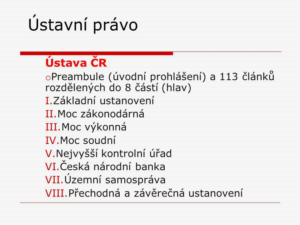 Ústavní právo Ústava ČR