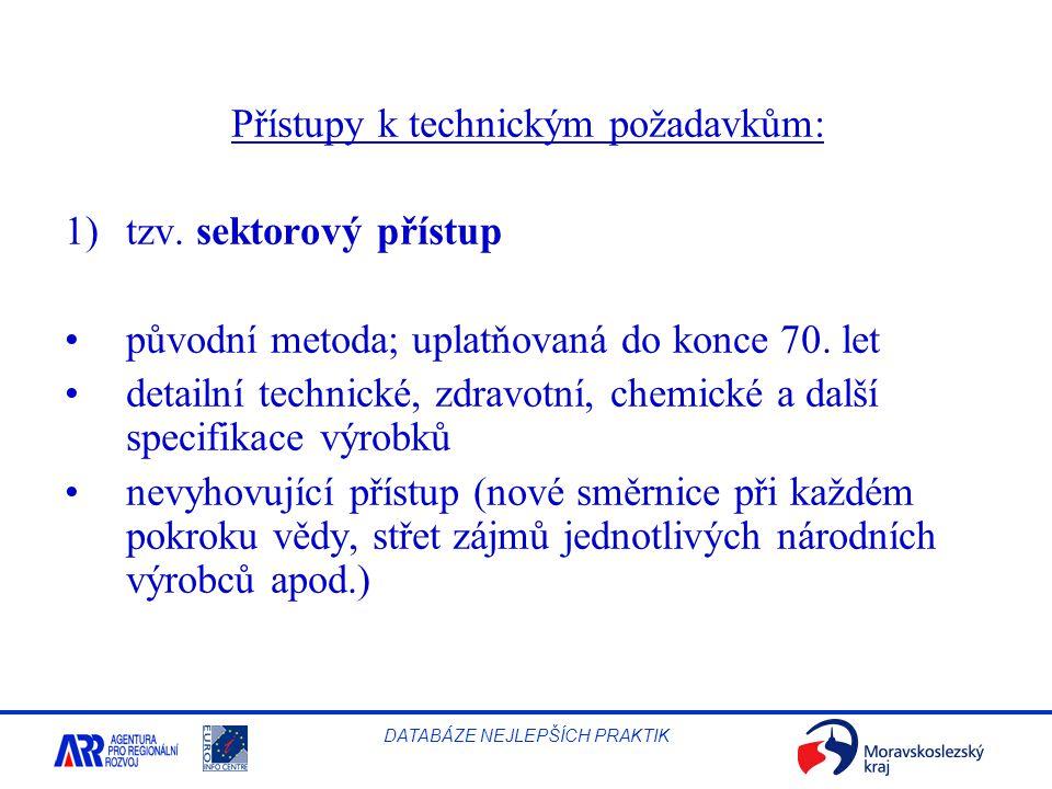 Přístupy k technickým požadavkům: