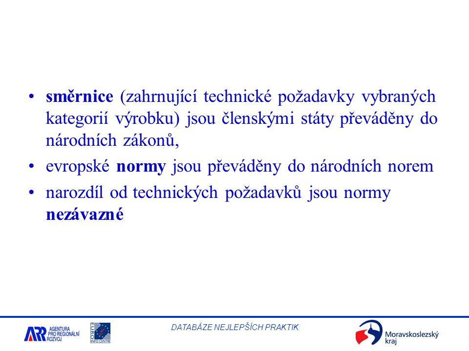 směrnice (zahrnující technické požadavky vybraných kategorií výrobku) jsou členskými státy převáděny do národních zákonů,